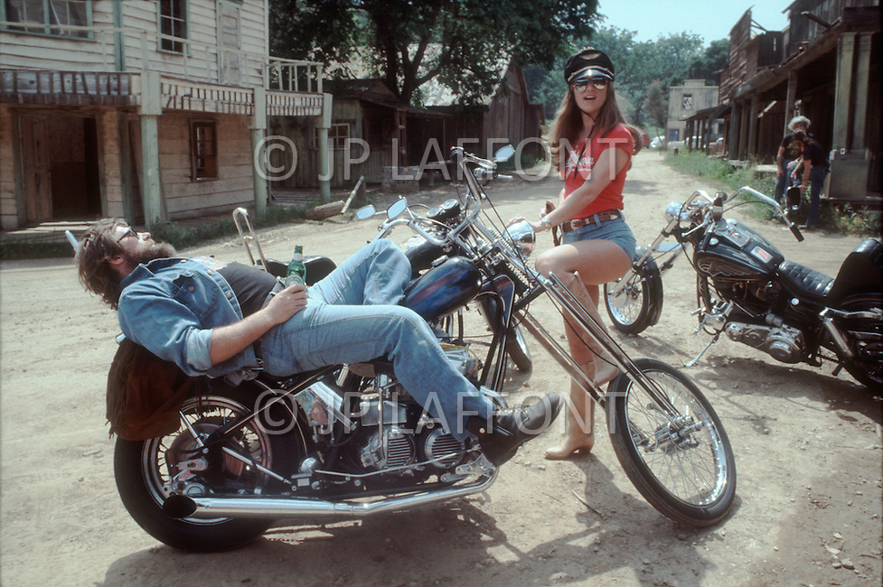May 1978, Los Angeles, CA. Sheila with a motorcycle gang member.