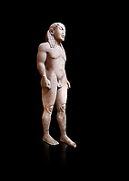 Archaic Ancient Greek marble statue of a Kouros, one of the Twins of Argos sculpted in the Argos archaic workshop circa 580 BC, Delphi National Archaeological Museum.   Against black