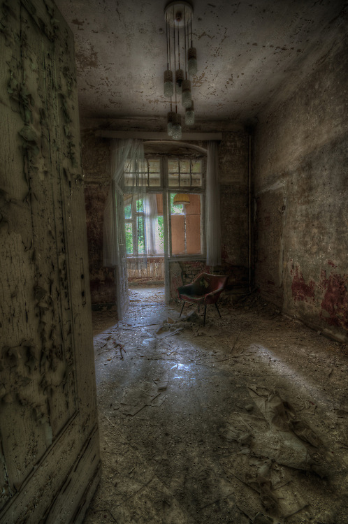 Old forgotten hotel room interior