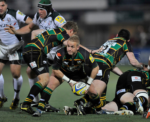 26.11.10. Ryan Powell of Northampton Saints clears the ball. Aviva Premiership Rugby Round 9 Northampton Saints vs London Irish at Franklin s Gardens, Northampton, England