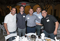 From left, Tim Walsh '98, David Newhall '99, Trevor Moawad '95, Jeff Muir '92 and Hung Duong '94 M'02<br /> Now in his 30th year as Oxy's head men's basketball coach, Brian Newhall received a much deserved celebration with a surprise halftime ceremony and post game reception in the Booth Hall courtyard with more than 70 former and current players from all different generations and decades in attendance, on Saturday, Jan. 26, 2019.<br /> Newhall is the winningest coach in Oxy history and has a 100 percent graduation rate in his 30 years at the helm of the program. His resume boasts multiple SCIAC Championships and NCAA Playoff appearances, along with a run to the NCAA Division III Elite Eight in 2003 and the only perfect 14-0 season in SCIAC history. Newhall has not only coached at Oxy, but was a SCIAC Champion and SCIAC Player of the Year during his playing career at Oxy in the early 80s.<br /> (Photo by Marc Campos, Occidental College Photographer)