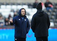 Cardiff Blues&rsquo; Head Coach Danny Wilson chats with Ospreys' Head Coach Steve Tandy<br /> <br /> Photographer Kevin Barnes/CameraSport<br /> <br /> Guinness Pro14 Round 13 - Ospreys v Cardiff Blues - Saturday 6th January 2018 - Liberty Stadium - Swansea<br /> <br /> World Copyright &copy; 2018 CameraSport. All rights reserved. 43 Linden Ave. Countesthorpe. Leicester. England. LE8 5PG - Tel: +44 (0) 116 277 4147 - admin@camerasport.com - www.camerasport.com
