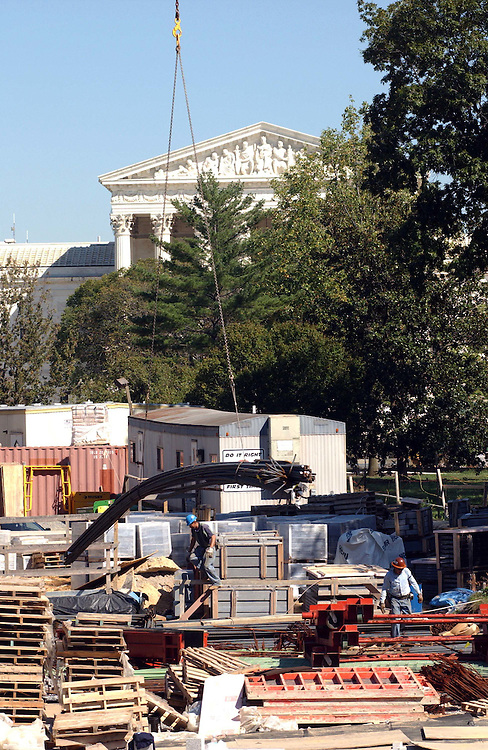 9/22/04.CAPITOL VISITOR CENTER CONSTRUCTION--View from the East Steps of the Senate Side of the U.S. Capitol..CONGRESSIONAL QUARTERLY PHOTO BY SCOTT J. FERRELL