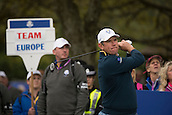23.09.2014. Gleneagles, Auchterarder, Perthshire, Scotland.  The Ryder Cup.  Lee Westwood (EUR) on the 11th Tee during his practice round.