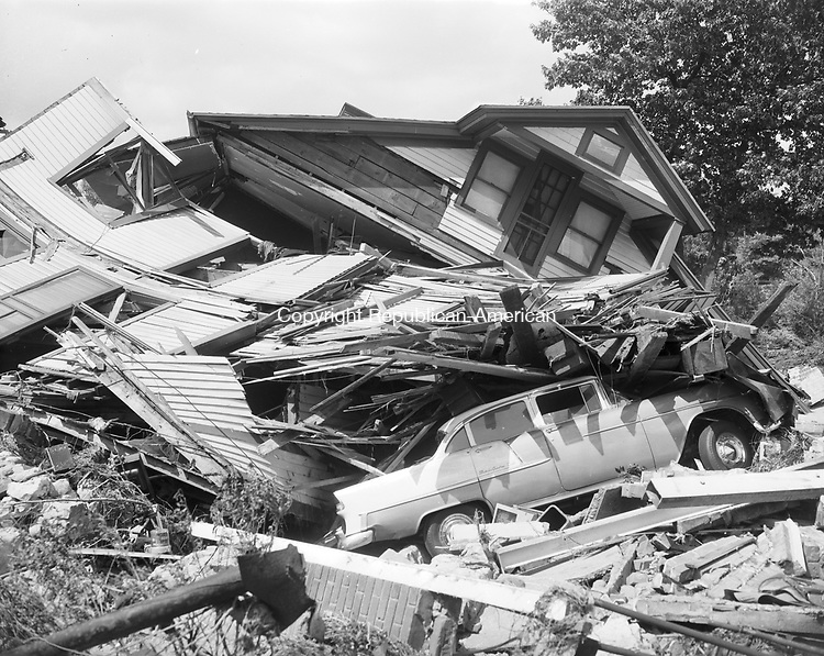 Destruction and debris left by the August 1955 flood.