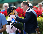 HALLANDALE BEACH, FL - DECEMBER 16:  Chad C Brown with Irad Ortiz Jr  in the winners' circle after winning the G3 Rampart  Stakes with Lewis Bay at Gulfstream Park on December 16, 2017 in Hallandale Beach, Florida. (Photo by Liz Lamont/Eclipse Sportswire/Getty Images)