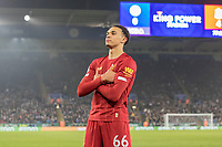 26th December 2019; King Power Stadium, Leicester, Midlands, England; English Premier League Football, Leicester City versus Liverpool; Trent Alexander Arnold of Liverpool stands with his arms crossed after scoring in the 78ty minute 0-4 - Strictly Editorial Use Only. No use with unauthorized audio, video, data, fixture lists, club/league logos or 'live' services. Online in-match use limited to 120 images, no video emulation. No use in betting, games or single club/league/player publications