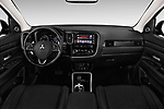 Stock photo of straight dashboard view of a 2018 Mitsubishi Outlander GT 4WD 5 Door SUV