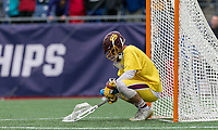 Foxborough, Massachusetts - May 27, 2018: NCAA Division III tournament final. Wesleyan University (red) defeated Salisbury University (yellow), 8-6, at Gillette Stadium.<br /> Dejected goal keeper.