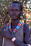 Bena Man, Bena Tribe, Omo Valley, Ethiopia, portrait, person, one, tribes, tribal, indigenous, peoples, Southern, ethnic, rural, local, traditional, culture, primitive, cattle herder, bracelet.Africa....