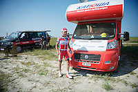 Joaquim Rodriguez (ESP) after the time trial in Mont Saint-Michel ready to leave for the hotel<br /> <br /> Tour de France 2013<br /> stage 11: Avranches - Mont Saint-Michel 33km