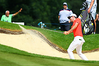 Dylan Frittelli drives out of a bunker on the 18th green during the BMW PGA Golf Championship at Wentworth Golf Course, Wentworth Drive, Virginia Water, England on 25 May 2017. Photo by Steve McCarthy/PRiME Media Images.
