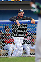 Miami Marlins roving instructor Andy Barkett during the first game of a Batavia Muckdogs doubleheader against the Vermont Lake Monsters August 11, 2015 at Dwyer Stadium in Batavia, New York.  Batavia defeated Vermont 6-0.  (Mike Janes/Four Seam Images)