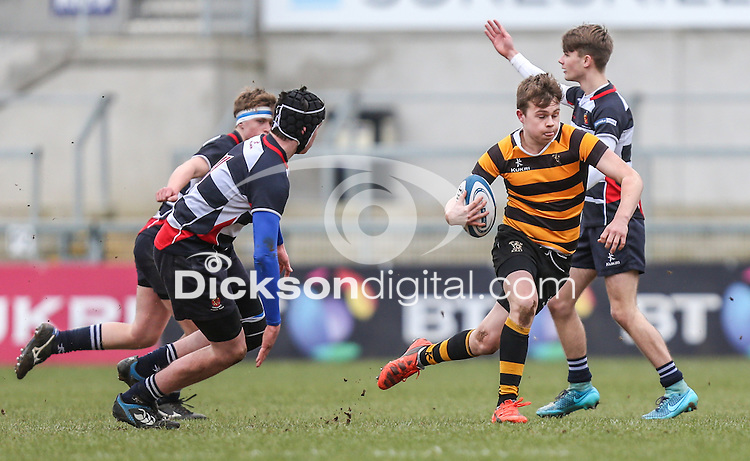 Medallion Shield Final | Friday 4th March 2016<br /> <br /> MATCH ACTION - Medallion Shield Final between Wallace HS vs RBAI at the Kingspan Stadium, Belfast, Northern Ireland. Photo credit: John Dickson / DICKSONDIGITAL