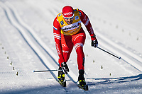 1st January 2020, Toblach, South Tyrol , Italy;  Sergey Ustiugov of Russia finishes in the mens 15 km classic technique pursuit during Tour de Ski on January 1, 2020 in Toblach.