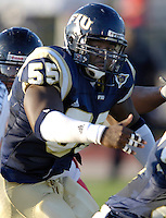 Florida International University Golden Panthers (0-5, 0-2) football versus Arkansas State University Indians (2-2, 1-0) at Miami, Florida on Saturday, September 30, 2006.  The Indians defeated the Golden Panthers 31-6...Sophomore offensive lineman Xavier Shannon (55)