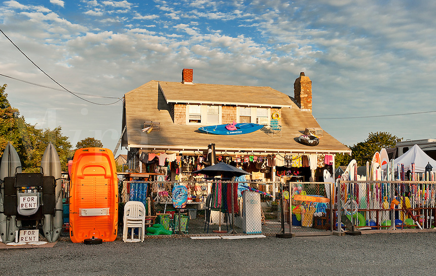 Beach kites, floats, and toys at roadside store, Cape Cod, MA