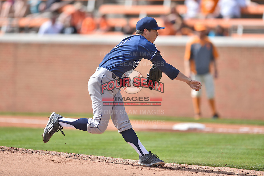 UC Irvine Anteaters starting pitcher Shaun Vetrovec (37) delivers a pitch during game one of a double header against the Tennessee Volunteers at Lindsey Nelson Stadium on March 12, 2016 in Knoxville, Tennessee. The Volunteers defeated the Anteaters 14-4. (Tony Farlow/Four Seam Images)