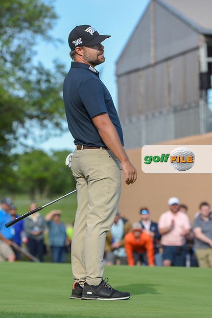 Ryan Moore (USA) reacts to barely missing his birdie putt on 18 during day 4 of the Valero Texas Open, at the TPC San Antonio Oaks Course, San Antonio, Texas, USA. 4/7/2019.<br /> Picture: Golffile | Ken Murray<br /> <br /> <br /> All photo usage must carry mandatory copyright credit (© Golffile | Ken Murray)
