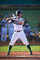 Chicago State Cougars shortstop Julian Russell (1) at bat during a game against the Georgetown Hoyas on March 3, 2017 at North Charlotte Regional Park in Port Charlotte, Florida.  Georgetown defeated Chicago State 11-0.  (Mike Janes/Four Seam Images)