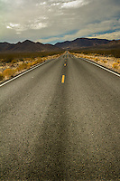 Desolate highway through Death Valley National Park.