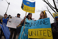 Washington, DC - March 2, 2014: Valida Kent (c), a Ukrainian-American, gathers with other protestors across from the Russian Embassy in Washington March 2 to support peace in the Ukraine. The Russian parliament approved military action in the region the previous day. (Photo by Don Baxter/Media Images International)
