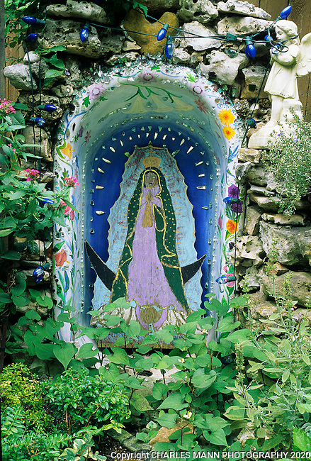 Lucinda Hutson has made her home gardenin Austin, Texas , into a  shrine to  gardening, colors, the Virgin of Guadalupe and to her whimsical crative flair.