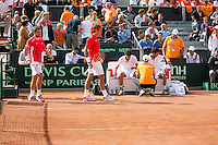 15-09-12, Netherlands, Amsterdam, Tennis, Daviscup Netherlands-Suisse, Doubles, Robin Haase/Jean-Julian Rojer    Roger Federer/Stanislas Wawrinka(L)