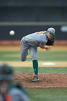 Miami Hurricanes starting pitcher Slade Cecconi (21) delivers a pitch to the plate against the Wake Forest Demon Deacons at David F. Couch Ballpark on May 11, 2019 in  Winston-Salem, North Carolina. The Hurricanes defeated the Demon Deacons 8-4. (Brian Westerholt/Four Seam Images)
