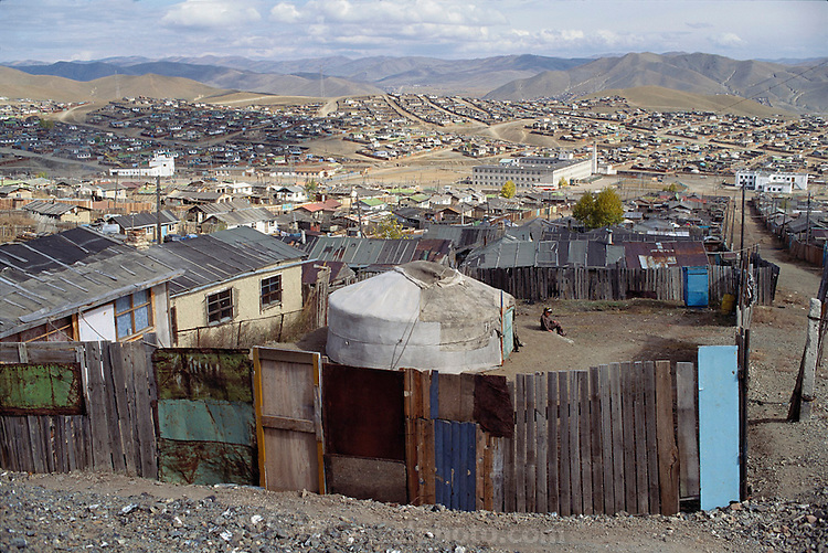 Despite the popular image of Mongolians as nomadic herders, it is an increasingly urbanized country. More than one quarter of Mongolians live in the capital city, Ulaanbaatar. Many people move into the city from the countryside and live in squatter areas on the hillsides around the city, often living in their traditional gers (round tent built from canvas, strong poles, and wool felt) until they erect more permanent housing. Mongolia. Material World Project.