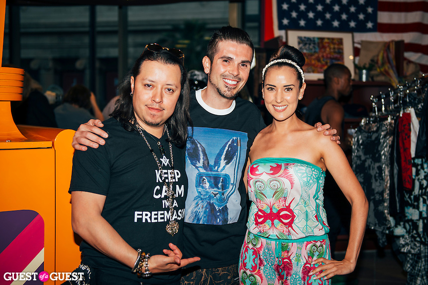 Carlos Ramirez, Erik Rosete, and Burgandi Phoenix at Mister Triple X Presents Bunny Land Los Angeles Trunk Show & Fashion Party With Friends (Photo by Tiffany Chien/Guest Of A Guest)