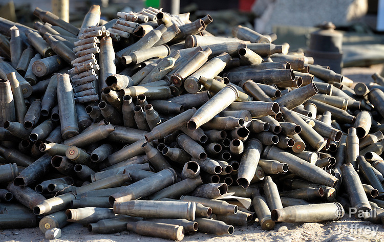 Bullet casings laying on a street in Misrata, the besieged Libyan city where fierce fighting raged for weeks, and where today civilians and rebel forces are surrounded on three sides by forces loyal to Libyan leader Moammar Gadhafi.