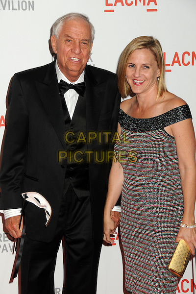 "GARRY MARSHALL & daughter KATHLEEN MARSHALL.LACMA's ""The Unmasking"" of the Lynda & Stewart Resnick Exhibition Pavilion Opening Gala held at the Los Angeles County Museum of Art, - Los Angeles, California, USA, 25th September 2010..half length dress family father dad green patterned print  black smiling bow tie tuxedo tux .CAP/ADM/BP.©Byron Purvis/AdMedia/Capital Pictures."