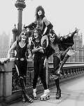 Kiss 1976 Peter Criss, Paul Stanley, Ace Frehley and Gene Simmons in London..© Chris Walter..