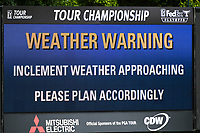 Weather warning signs are displayed as a major thunderstorm looms during round 2 of the 2019 Tour Championship, East Lake Golf Course, Atlanta, Georgia, USA. 8/23/2019.<br /> Picture Ken Murray / Golffile.ie<br /> <br /> All photo usage must carry mandatory copyright credit (© Golffile | Ken Murray)
