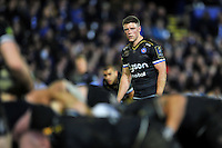 Rhys Priestland of Bath Rugby watches a scrum. European Rugby Champions Cup match, between Bath Rugby and Wasps on December 19, 2015 at the Recreation Ground in Bath, England. Photo by: Patrick Khachfe / Onside Images