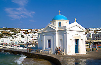 Church and downtown of village, Mykonos, Greece