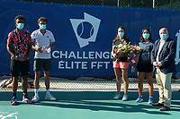 25th July 2020, Villeneuve-Loubet , France;   Maxime Hamou France - Gilles Simon France - Alize Cornet France - Harmony Tan France - Bernard Giudicelli president of the fft during the Elite FFT Tennis Challenge tournament;