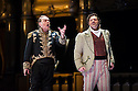 London, UK. 14.10.2013. LES VEPRES SICILIENNES, by Giuseppe Verdi,  opens at The Royal Opera House. Picture shows: Michael Volle (Guy de Montfort - balcony) and Bryan Hymel (Henri). Photograph by kind permission of The Royal Opera House © Jane Hobson.