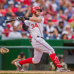 20 September 2015: Washington Nationals outfielder Bryce Harper in action against the Miami Marlins at Nationals Park in Washington, DC. The Nationals defeated the Marlins 13-3 to take the final game of their 4-game series. Mandatory Credit: Ed Wolfstein Photo *** RAW (NEF) Image File Available ***