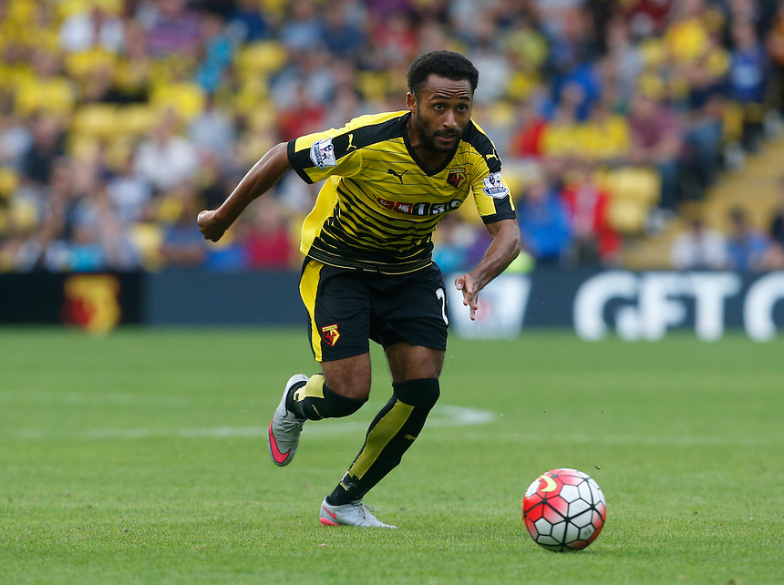 Watford's Ikechi Anya in action during todays match  <br />  <br /> <br /> Photographer Kieran Galvin/CameraSport<br /> <br /> Football - Barclays Premiership - Watford v Southampton - Sunday 23rd August 2015 - Vicarage Road Stadium - Watford<br /> <br /> &copy; CameraSport - 43 Linden Ave. Countesthorpe. Leicester. England. LE8 5PG - Tel: +44 (0) 116 277 4147 - admin@camerasport.com - www.camerasport.com