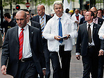 Lone Dutch populist politician Geert Wilders walks the streets of Eindhoven surrounded by bodyguards during a political rally in Eindhoven, © photo Michael Kooren