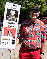 ATHENS, GA - SEPTEMBER 21: Georgia fan prior to the game during a game between Notre Dame Fighting Irish and University of Georgia Bulldogs at Sanford Stadium on September 21, 2019 in Athens, Georgia.
