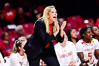 College Park, MD - NOV 29, 2017: Maryland Terrapins head coach Brenda Frese on the sideline during ACC/Big Ten Challenge game between Gerogia Tech and the No. 7 ranked Maryland Terrapins. Maryland defeated The Yellow Jackets 67-54 at the XFINITY Center in College Park, MD.  (Photo by Phil Peters/Media Images International)