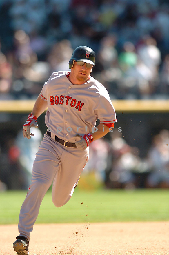 JD DREW, of the Boston Red Sox, in action during the Red Sox game against the Chicago White Sox  in Chicago on August 26, 2007.  The Red Sox won the game 11-1...........