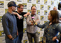 SAN DIEGO COMIC-CON© 2019: L-R: 20th Century Fox Television and Hulu's Solar Opposites Executive Producer Josh Bycel and Co-Creator/Executive Producers Justin Roiland and Mike McMahan during the SOLAR OPPOSITES press room on Friday, July 19 at the SAN DIEGO COMIC-CON© 2019. CR: Frank Micelotta/20th Century Fox Television