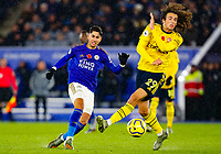 9th November 2019; King Power Stadium, Leicester, Midlands, England; English Premier League Football, Leicester City versus Arsenal; Ayoze Perez of Leicester City passes under pressure from Matteo Guendouzi of Arsenal - Strictly Editorial Use Only. No use with unauthorized audio, video, data, fixture lists, club/league logos or 'live' services. Online in-match use limited to 120 images, no video emulation. No use in betting, games or single club/league/player publications