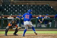 AZL Cubs center fielder Jose Gutierrez (91) at bat during Game Three of the Arizona League Championship Series against the AZL Giants on September 7, 2017 at Scottsdale Stadium in Scottsdale, Arizona. AZL Cubs defeated the AZL Giants 13-3 to win the series two games to one. (Zachary Lucy/Four Seam Images)