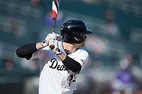 Jake Mueller (23) of the Wake Forest Demon Deacons at bat against the Furman Paladins at BB&T BallPark on March 2, 2019 in Charlotte, North Carolina. The Demon Deacons defeated the Paladins 13-7. (Brian Westerholt/Four Seam Images)