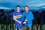 Larry O'Connor (O'Connors Harware Duagh) presenting Sean T Dillon St Senans with the man of the match award after St Senans defeated Brosna in the final of the North Kerry Division 1 league final played in Duagh on Saturday evening